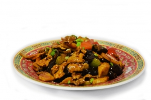 Свинина с овощами, бамбуком и грибами (350г)