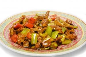 Желудочки куриные с овощами в остром соусе (350г)